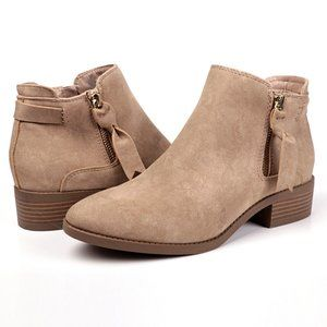 Expressions Side Zip Faux Suede Bootie Taupe Sz 7